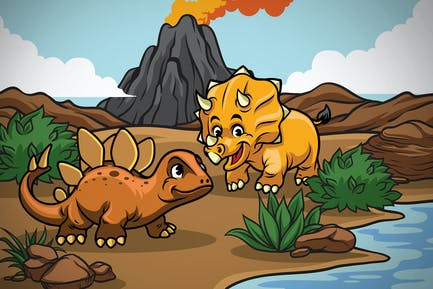 cartoon of dinosaurs cub in the nature