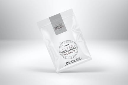 Clear Foil Sachet Packaging Mockup