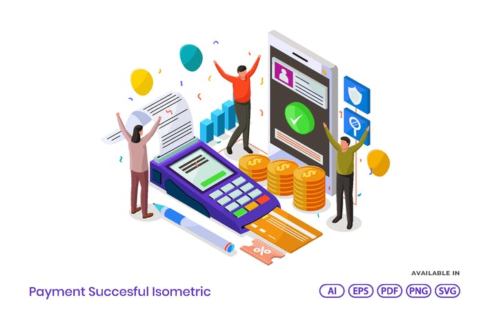 Payment Succesful Isometric
