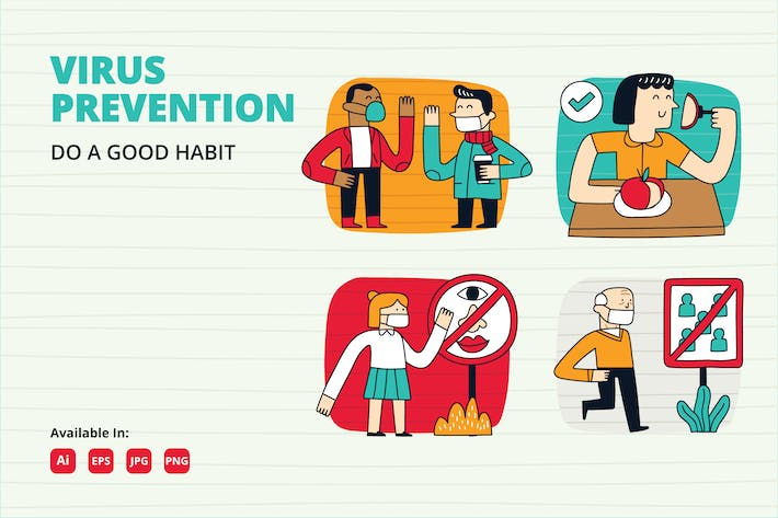 Thumbnail for COVID-19 prevention habit doodle