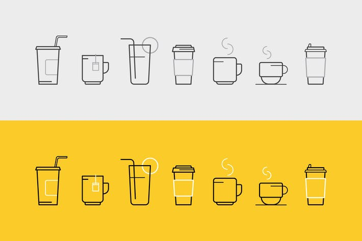 Thumbnail for set of vector icons with drinks and glasses