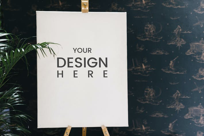 Cover Image For Shop sign on an easel mockup