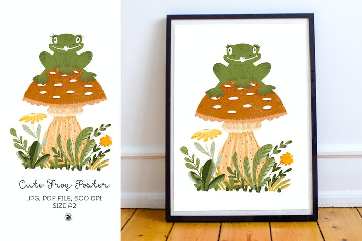 Cute frog with mushroom and plants