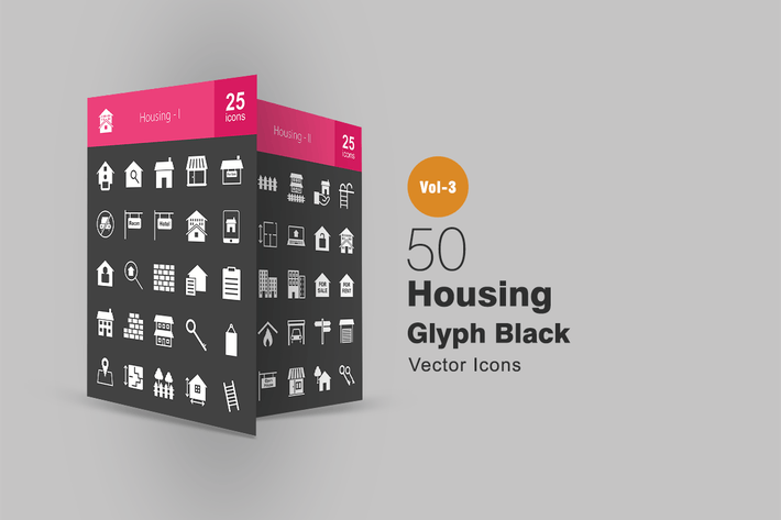 Thumbnail for 50 Housing Glyph Inverted Icons