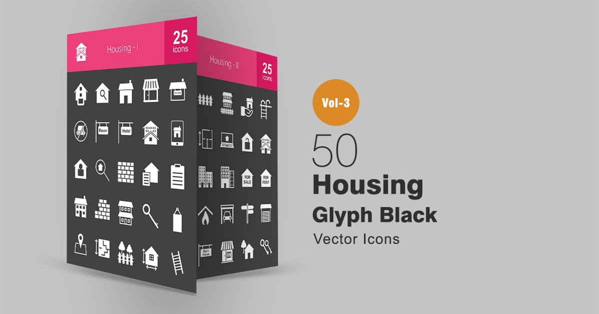 Download 50 Housing Glyph Inverted Icons by IconBunny