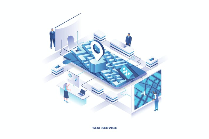 Thumbnail for Taxi Service Isometric Banner Flat Concept