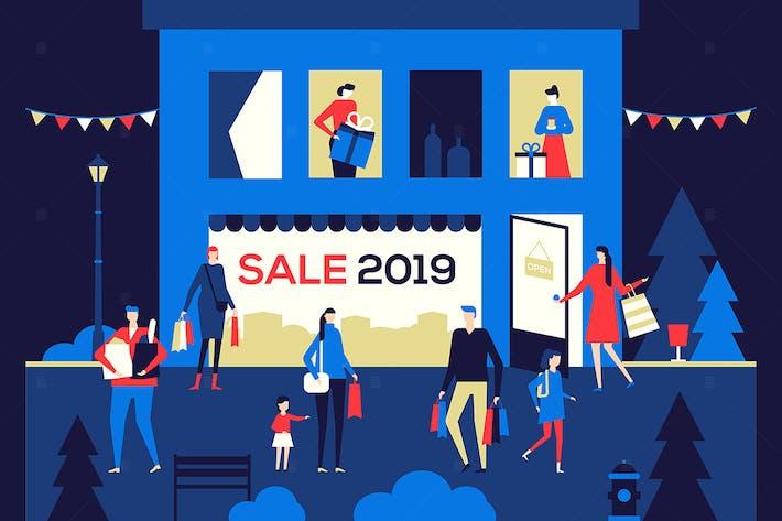 Thumbnail for Big Sale 2019 - flat design style illustration