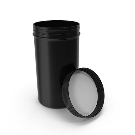 Plastic Jar Wide Mouth Straight Sided Tall 32oz Open Black