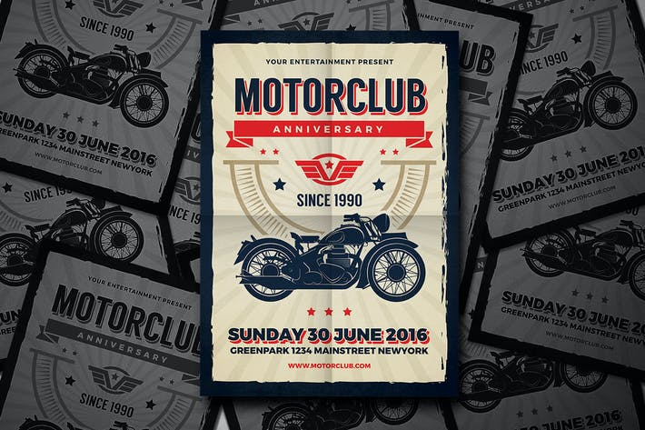 Motor Club Anniversary Event Flyer