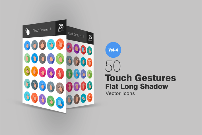 Thumbnail for 50 Touch Gestures Flat Shadowed Icons