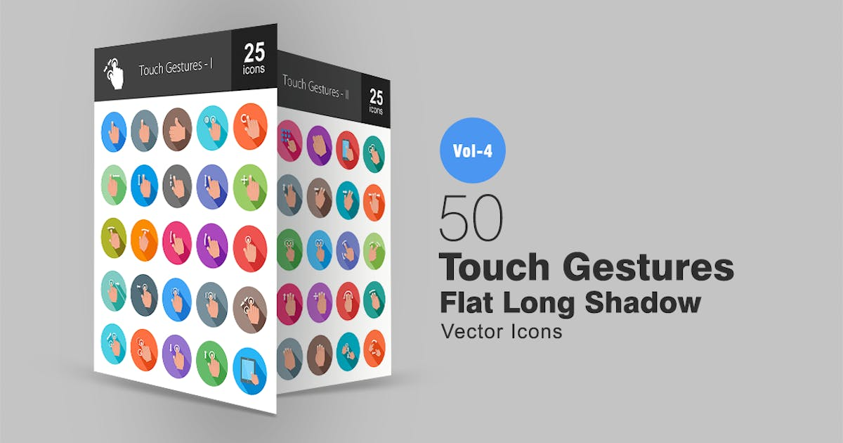Download 50 Touch Gestures Flat Shadowed Icons by IconBunny