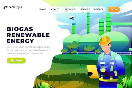 Biogas Renewable Energy - Vector Landing Page