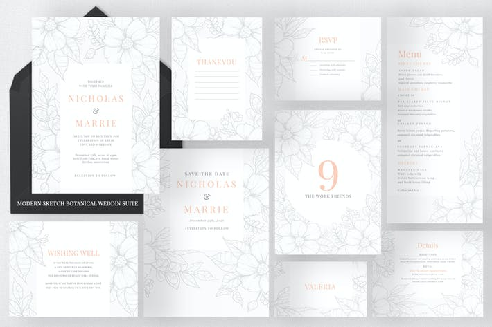 Thumbnail for Modern Sketch Botanical Wedding Suite