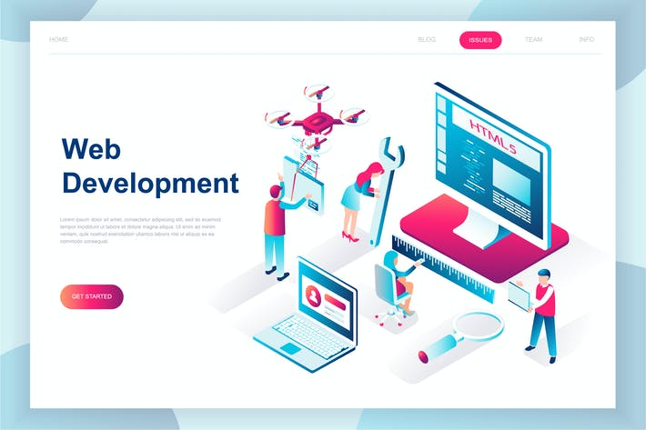 Thumbnail for Web Development Isometric Landing Page