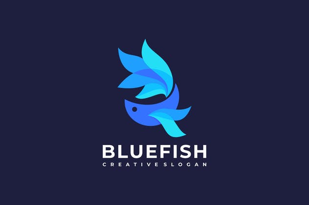 Blue Fish Colors Logo Template