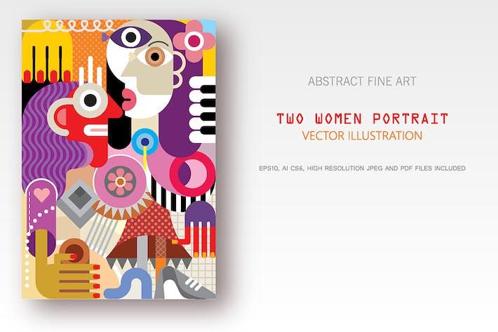 Thumbnail for Dos Mujeres Vertical Vector ilustración