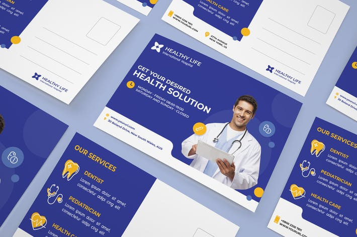 Thumbnail for Medical healthy postcard
