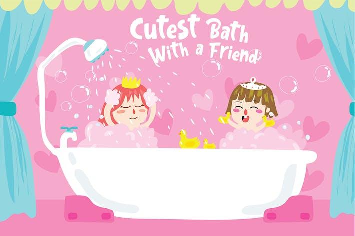 Mädchen Bad - Vektor Illustration