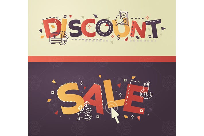 Thumbnail for Discount, Sale - flat design style headlines