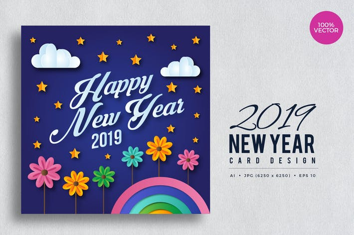 Thumbnail for Happy New Year 2019 Floral Vector Card Vol.3