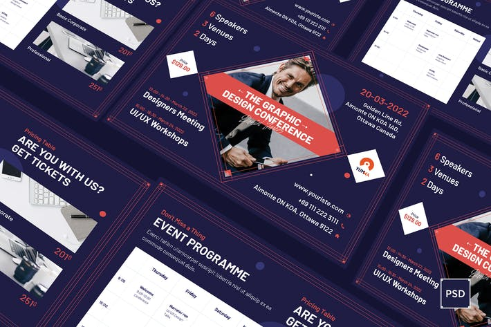 Thumbnail for Conference A5 Flyer PSD Template