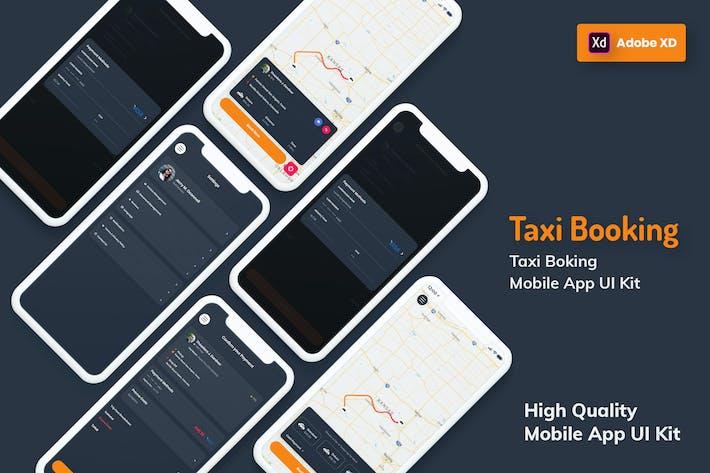 Thumbnail for Такси Бронирование Мобильное Приложение Темная версия (XD)
