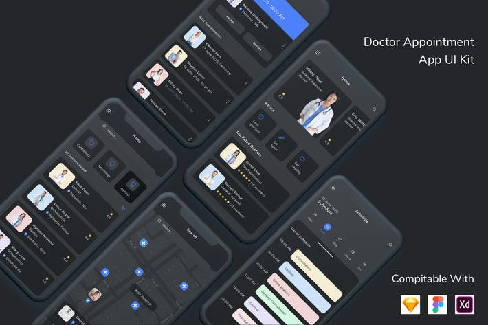 Thumbnail for Doctor Appointment App UI Kit Dark Mode