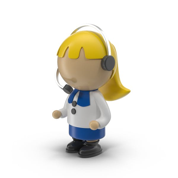 Cartoon Woman Operator Character