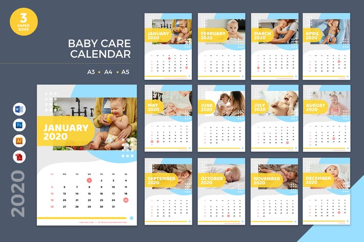 Thumbnail for Baby Care Calendar 2020 Calendar - AI, DOC, PSD
