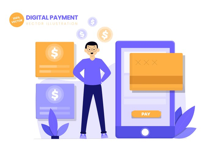 Thumbnail for Digital Payment Flat Vector Illustration
