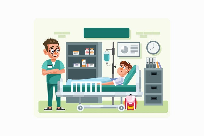 Thumbnail for Doctor and Patient in Hospital Room Illustration