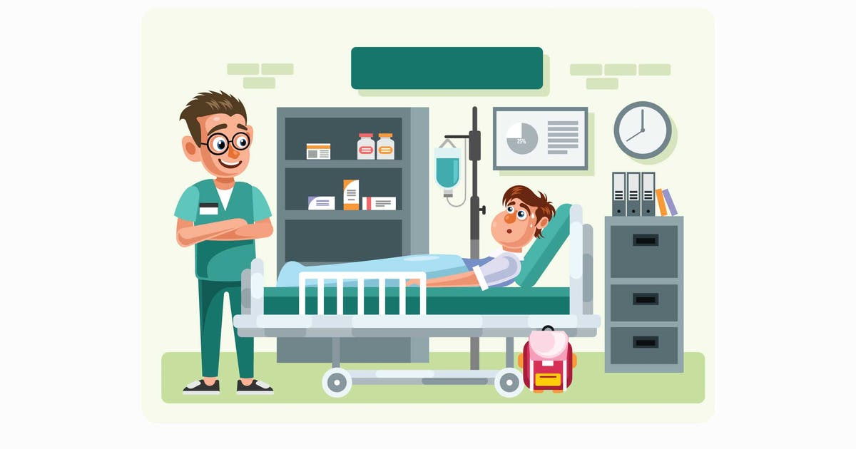 Download Doctor and Patient in Hospital Room Illustration by IanMikraz
