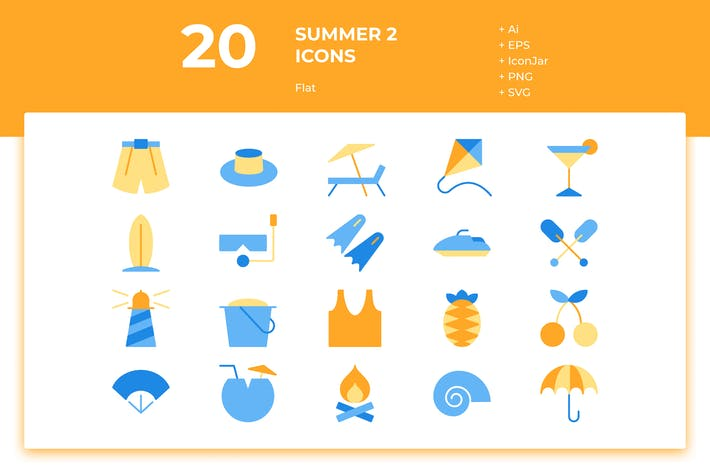 Thumbnail for 20 Summer Icons Vol. 2 (Flat)