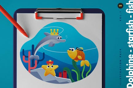 Dolphine-starfish-fish illustration pack