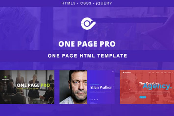 Thumbnail for One Page Pro - Multi Purpose OnePage HTML Template