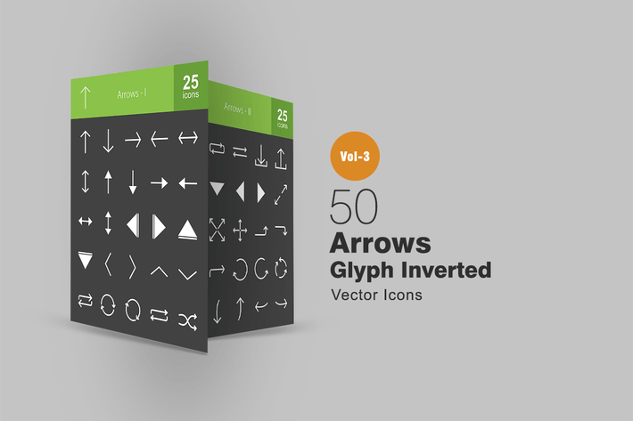 Thumbnail for 50 Arrows Glyph Inverted Icons