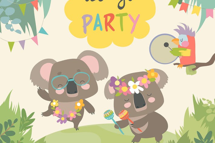 Cute koala dancing with friend. Vector
