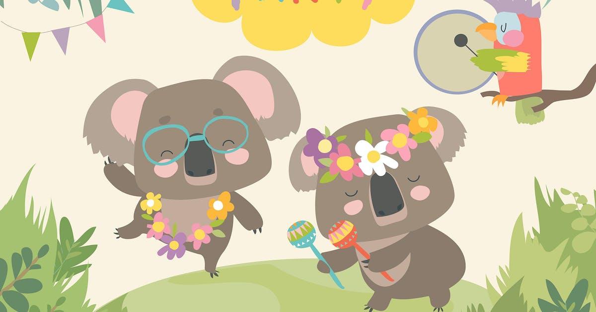 Download Cute koala dancing with friend. Vector by masastarus