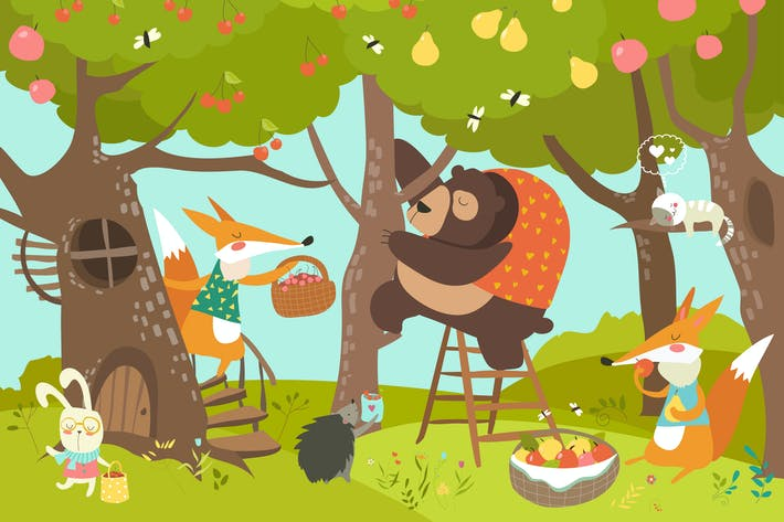 Thumbnail for Cute animals harvesting. Happy summer. Vector