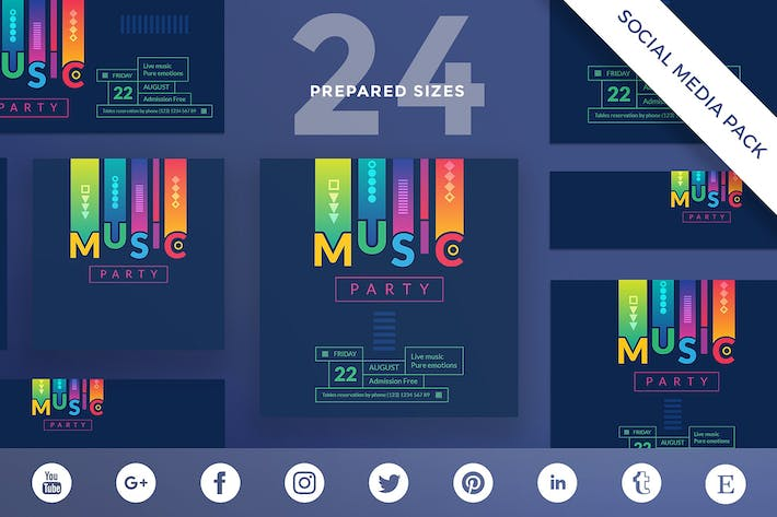 Thumbnail for Music Party Social Media Pack Template