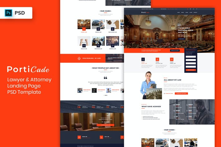 Thumbnail for Lawyer & Attorney - Landing Page PSD Template-02