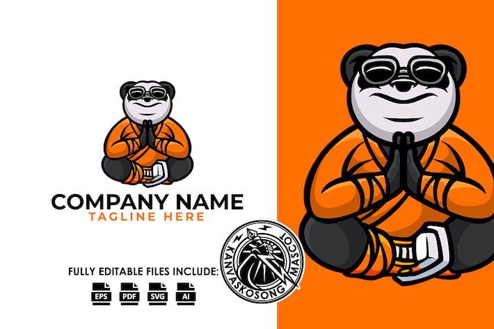 Buddha Panda Yoga Relax Logo Template