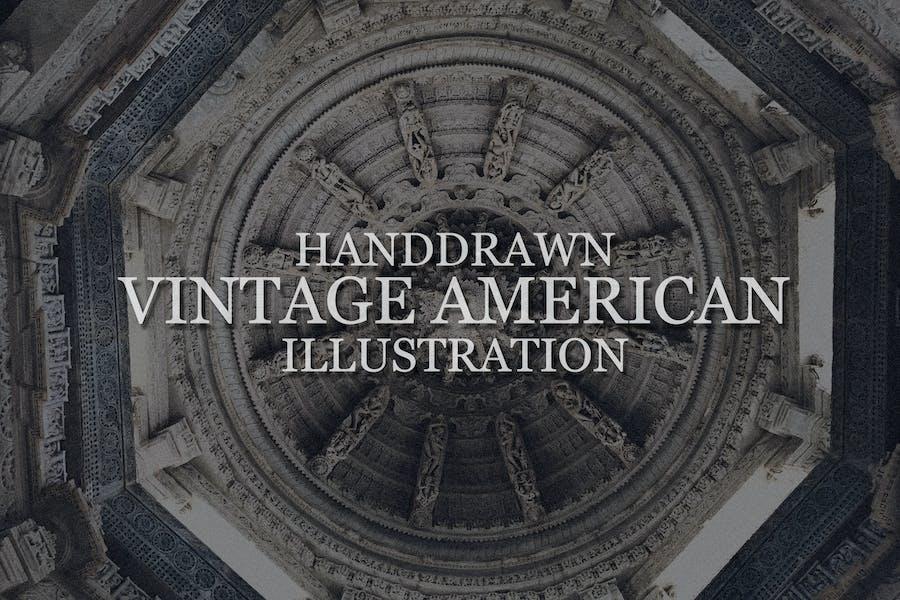 Handdrawn Vintage American Illustration