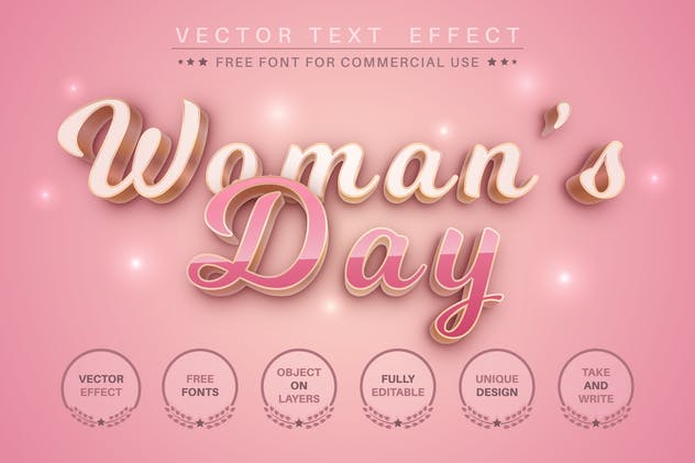 Woman's day - editable text effect for illustrator - product preview 0