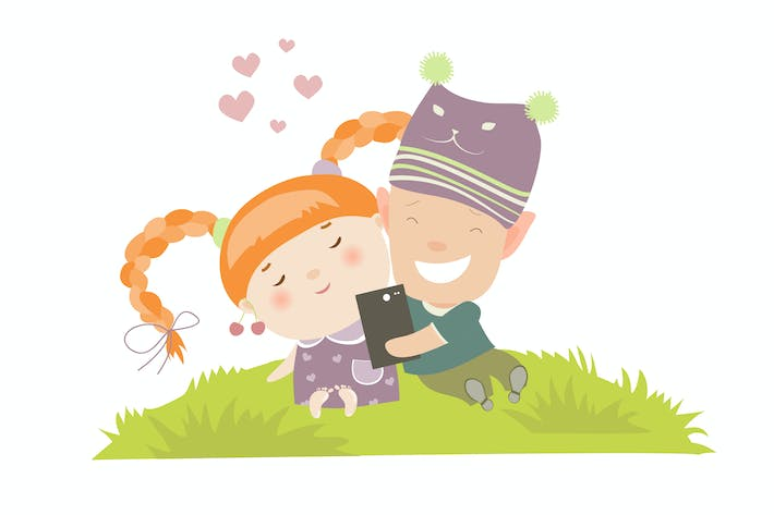 Thumbnail for Young couple making self-portrait. Vector