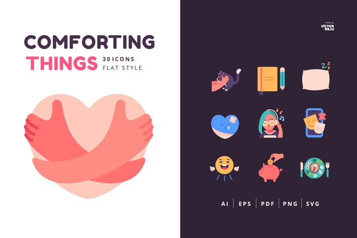 30 Icons Comforting Things Flat Style