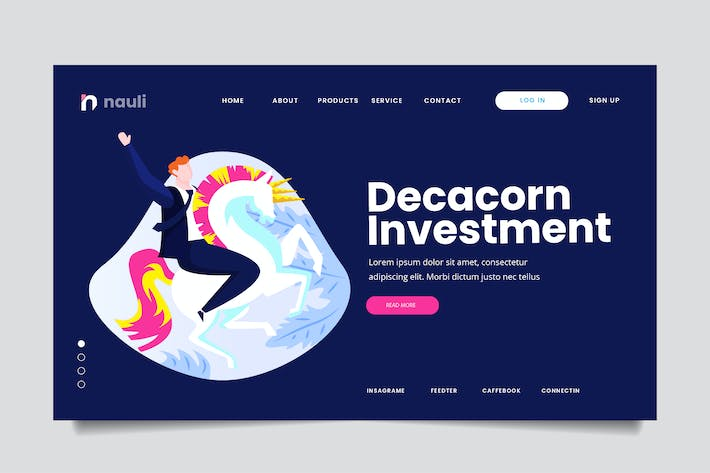 Thumbnail for Decacorn Investment Web Header PSD and AI Vector