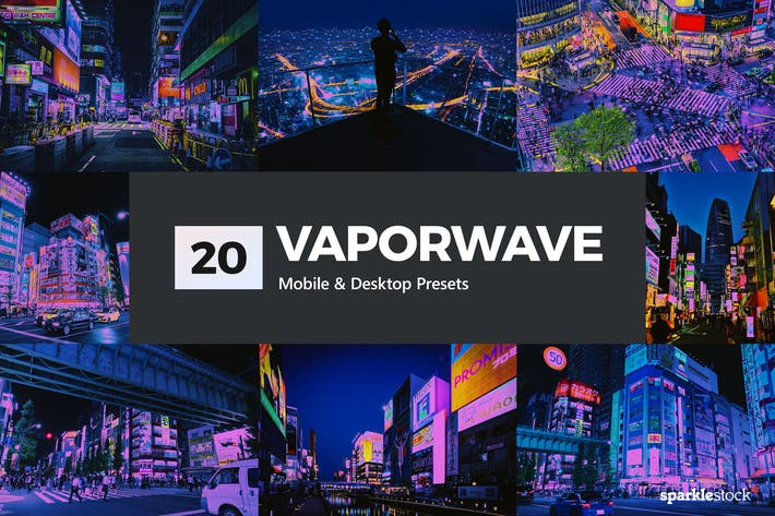 Thumbnail for 20 Vaporwave Lightroom Presets and LUTs