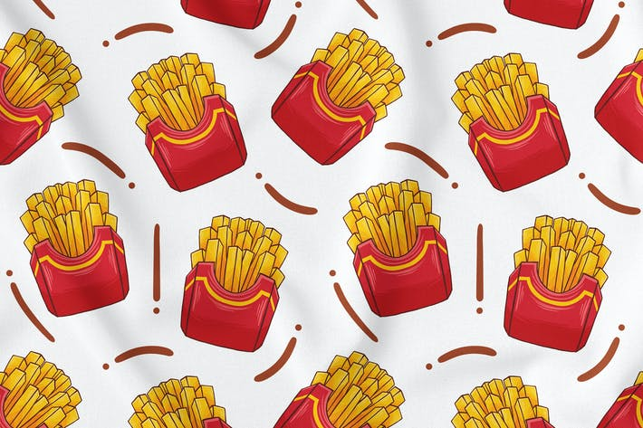 Thumbnail for French Fries Seamless Pattern