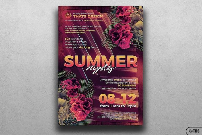 Cover Image For Summer Nights Flyer Template